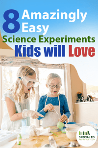 Two young girls having fun with science experiments in the kitchen at home with text overlay 8 Easy Science Experiments Kids Will Love.