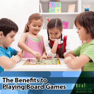 Children sitting around a table playing a board game with text overlay The Benefits to Playing Board Games