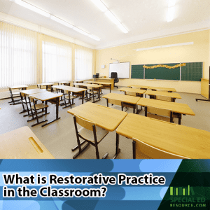 Empty public school classroom with text overlay What is restorative practice in the classroom