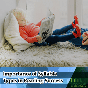 Little girl laying in bed reading a book with text overlay Importance of Syllable Types in Reading Success