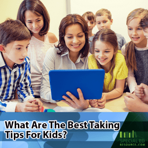Students surrounding teacher with an Ipad in a classroom with text overlay What are the Best Test Taking Tips for Kids