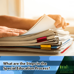 Stack of IEP paperwork on the desk with text overlay What are the Steps in the Special Education Process