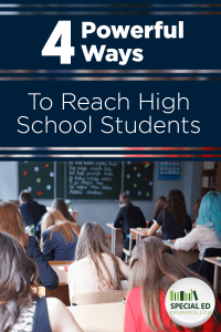 High School students sitting in their desks in a school classroom with text overlay 4 Powerful Ways to Reach High School Students