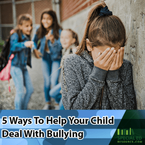 A young girl being bullied at school by a group of mean girls. Here is 5 Ways to Help your child deal with bullying.