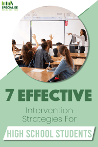 High school students in the classroom with the teacher at the front teaching using 7 Effective Intervention Strategies.