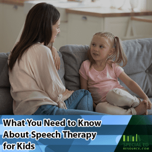 A young girl sitting on a couch with her mom what you need to know about speech therapy for kids.